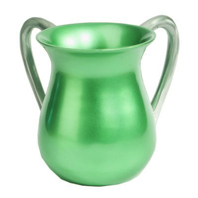 Aluminum Cast Wash Cup With Silver Handles Mint Green