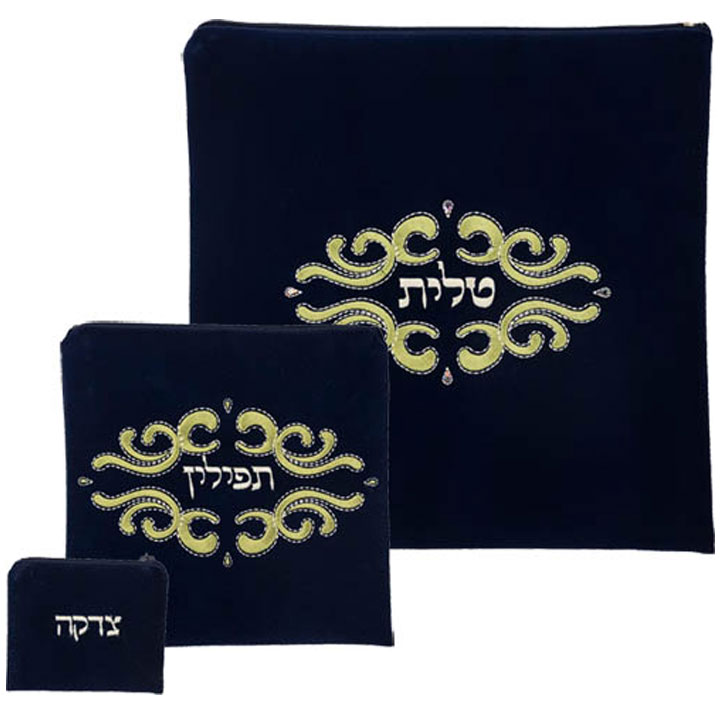 Squiggle Design Navy Suede Tallit Tefillin Bag In Green Sching