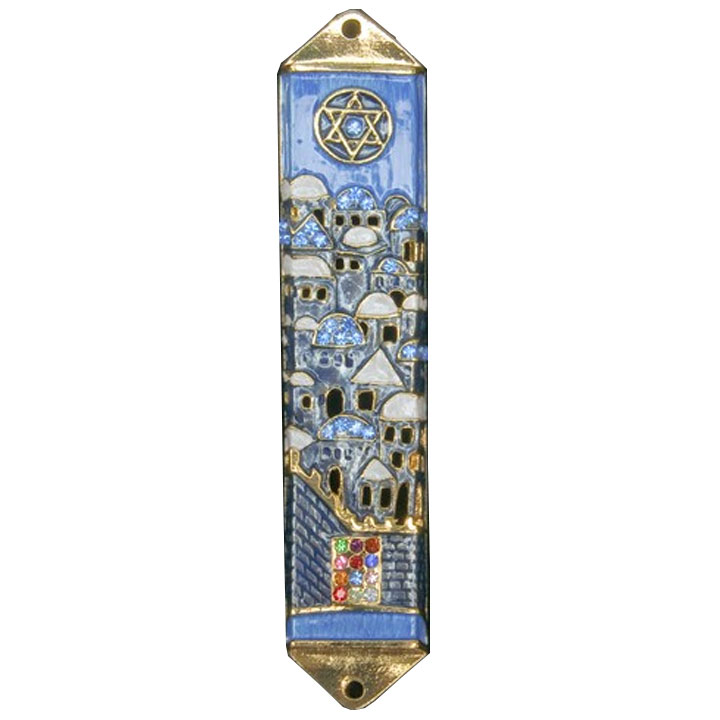 Enamel Jeweled Mezuzah Holder In Jerusalem Design