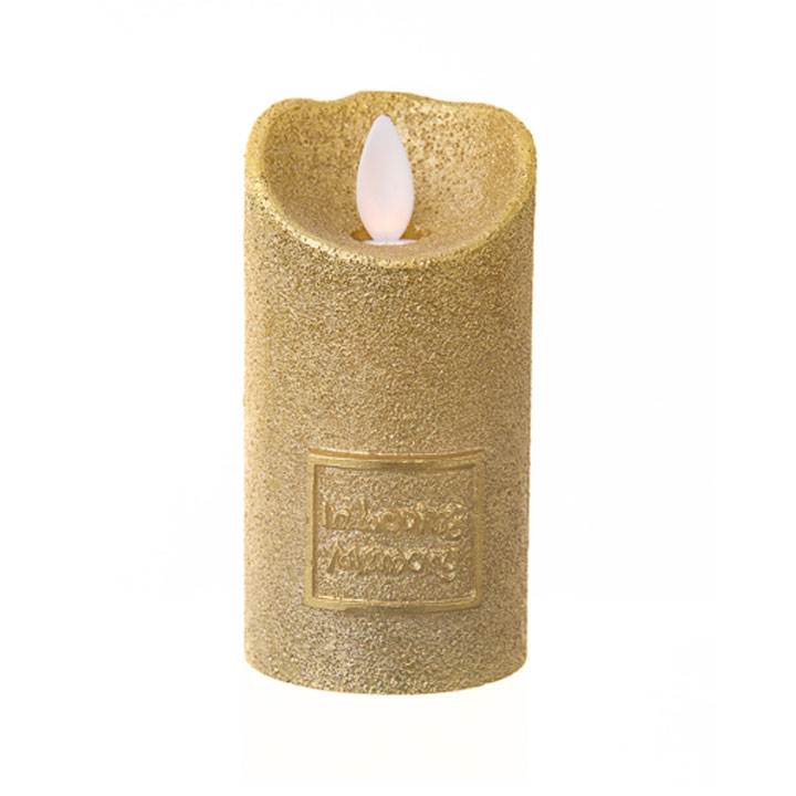 LED Yahrzeit Memorial Candle Holder in Gold / In Loving Memory