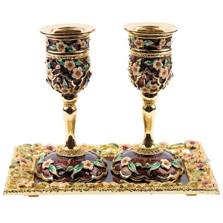 jeweled candle holders with tray brown