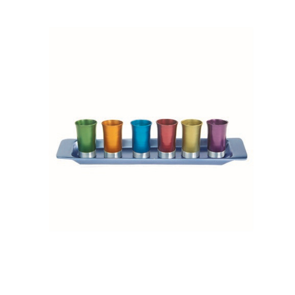 Yair Emanuel Anodized Aluminum Liquor Cups with Tray / Set of 6