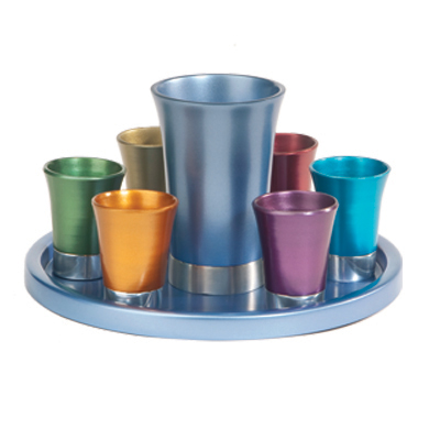 YAIR EMANUEL Anodized Aluminum Kiddush Wine Set with Tray