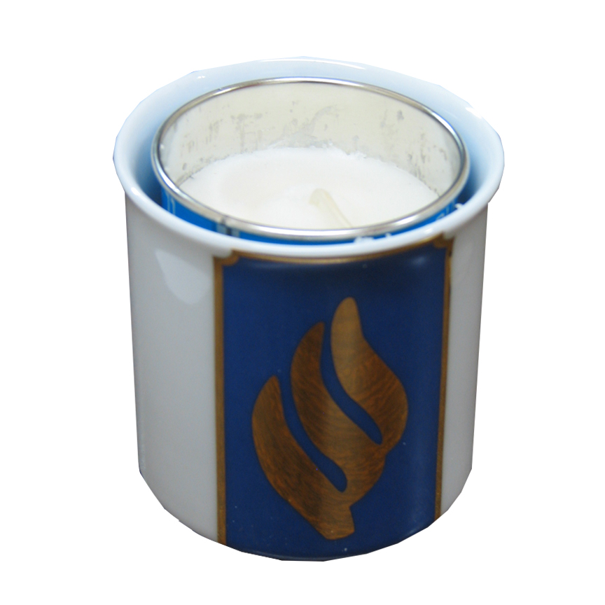 Blue and White Porcelain Memorial Yahrzeit Candle Holder