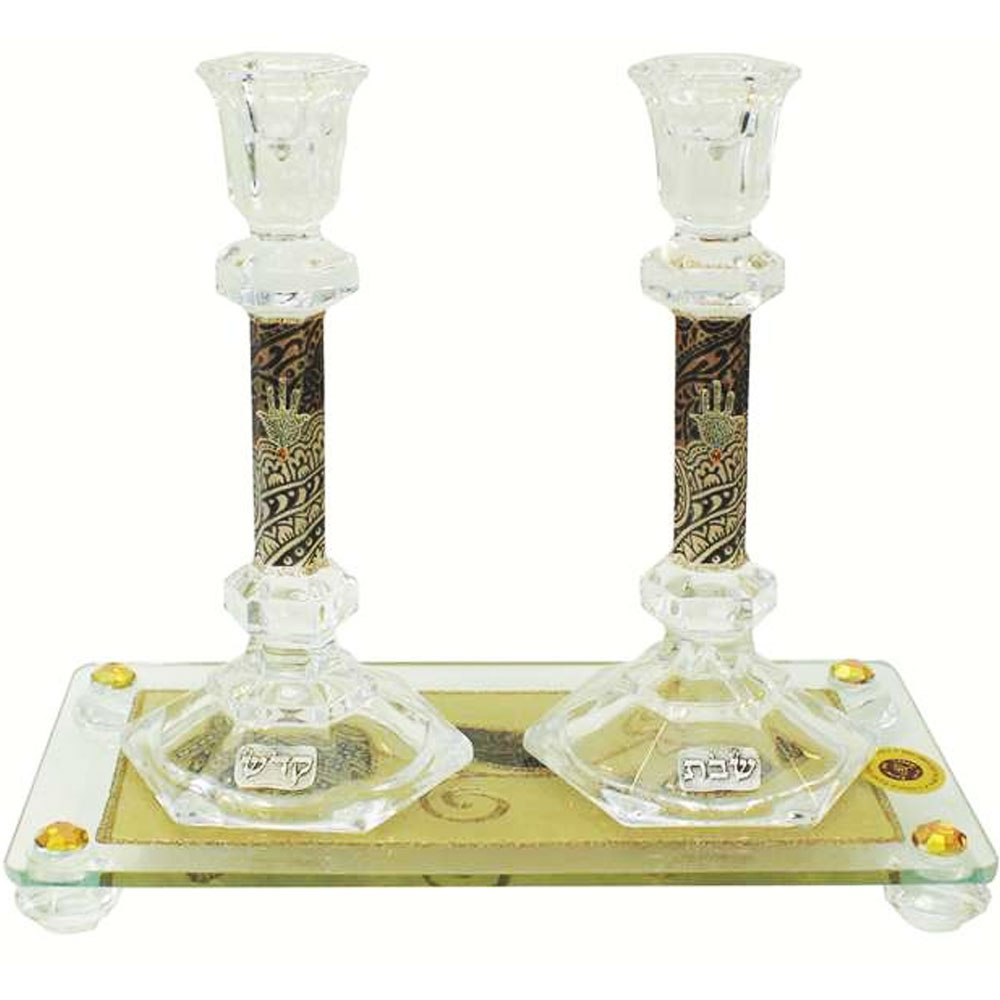 lily art glass appliqu d brown shabbat candle holders and tray