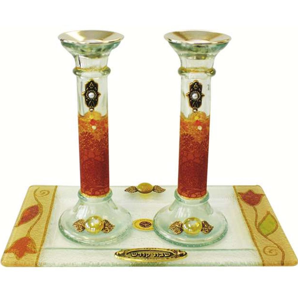 lily art glass appliqu d multi colored shabbat candle