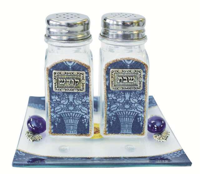 Lily Art Glass Salt And Pepper Shaker Set Blue