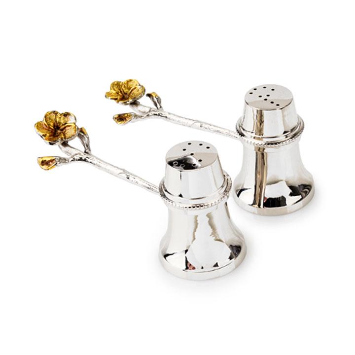 Hammered frainge flower design stainless steel salt and Designer salt and pepper shakers