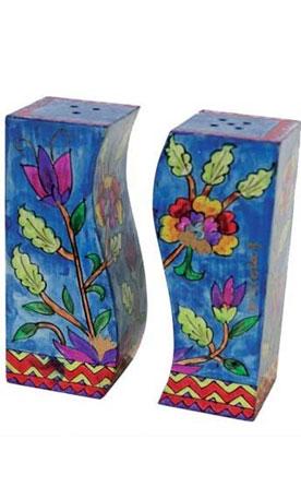 Hand Painted Wood Salt And Pepper Shaker Flower Design