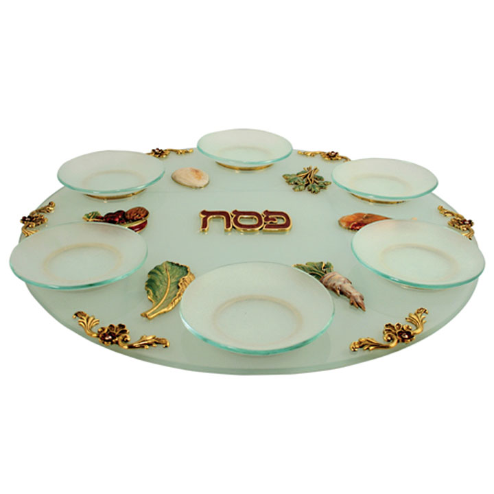 Hand Painted Exquisite Seder Symbols Design Round Seder Plate