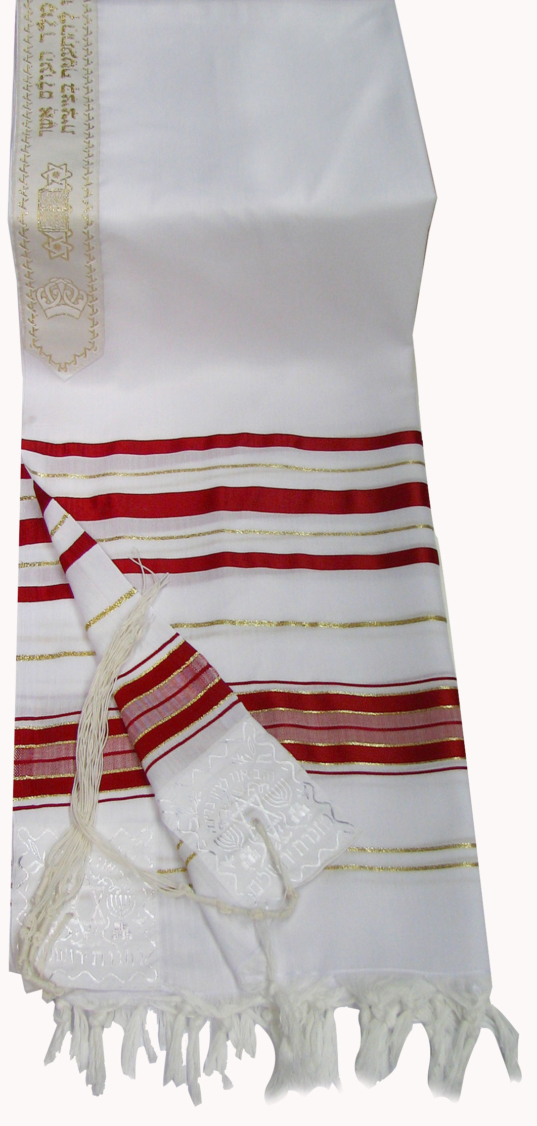 crylic (Imitation Wool) Tallit Prayer Shawl in Red and ...