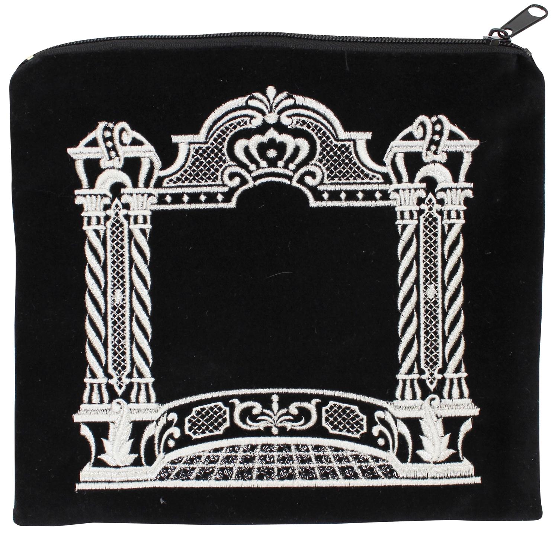 Double Pillar Design Silver Threading Black Velvet Tallit Tefillin Bag