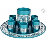 Kiddush Wine Set with Tray / Anodized Aluminum Turquoise with Silver Lace