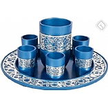 Kiddush Wine Set with Tray / Anodized Aluminum Blue with Silver Lace