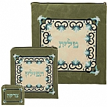 Floral Design Green Suede Tallit / Tefillin Bag in Blue Tones Stitching