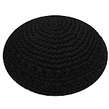 Hand Knitted Kippah - Black / Holes Design