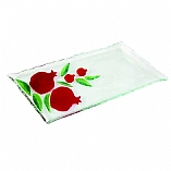 Pomegranate Design Fused Glass Serving Tray