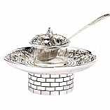 Silver Plated Honey Dish / Jerusalem Design