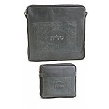 Embossed Framed Design Tallit / Tefillin Bag on Grey Leather