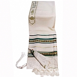 Traditional Wool Tallit with Decorative Ribbon / Paisley Design on Green and Silver Stripes