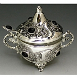 Silver Plated Honey Dish with Stones