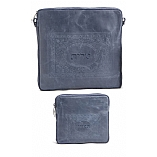 Embossed Framed Design Tallit / Tefillin Bag on Blue Leather