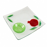 Apple and Honey Pomegranate Design Fused Glass Plate Set