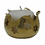 Brass with Stars of David Memorial Yahrzeit Candle Holder