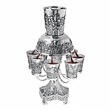 Jerusalem Motifs 8 Cups Pewter Kiddush Wine Fountain