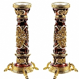 Jeweled Candlestick Holders / Brown