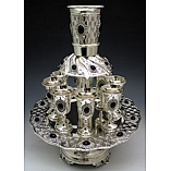 Quilted Diamonds Design with Stones 8 Cups Silver Plated Fountain on Base