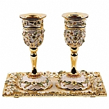 Jeweled Candle Holders with Tray / Ivory