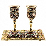 Jeweled Candle Holders with Tray / Brown