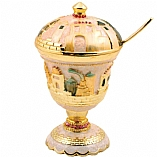 Jeweled Jerusalem Honey Dish - Ivory with Amber Crystals