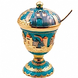 Jeweled Jerusalem Honey Dish - Turquoise with Sapphire Crystals