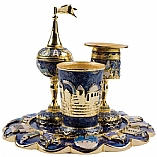 Jeweled Havdalah Set with Tray in Blue Jerusalem