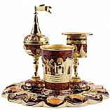 Jeweled Havdalah Set with Tray in Brown Jerusalem
