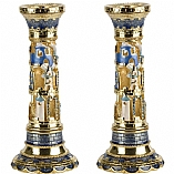Jeweled Candlestick Holders / Blue