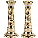 Jeweled Candlestick Holders / Ivory
