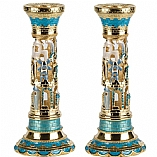 Jeweled Candlestick Holders / Turquoise