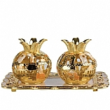 Jeweled Pomegranate Candle Holders with Tray / Ivory