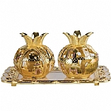 Jeweled Pomegranate Candle Holders with Tray / Brown