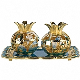 Jeweled Pomegranate Candle Holders with Tray / Turquoise