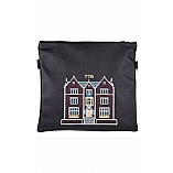 Embroidered 770 Design in Silver Grey Threading Tallit / Tefillin Bag on Black Leather