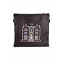 Embroidered 770 Design in Silver Grey Threading Tallit / Tefillin Bag on Brown Leather