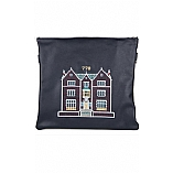Embroidered 770 Design in Silver Grey Threading Tallit / Tefillin Bag on Navy Leather