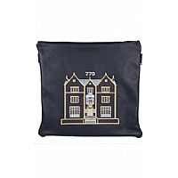 Embroidered 770 Design in Yellow Gold Threading Tallit / Tefillin Bag on Navy Leather
