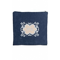 Suede Feel Emblem Design Print Tallit / Tefillin Bag in Blue