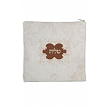 Suede Feel Emblem Design Print Tallit / Tefillin Bag in Cream