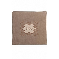 Suede Feel Emblem Design Print Tallit / Tefillin Bag in Olive